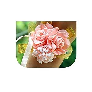 loveinfinite Wedding Decoration Mariage Rose Wrist Corsages Hand Flower Silk Lace PE Foam Artificial Brides Bridesmaid Wrist Flower Christmas,2 Peach Elastic Band 89