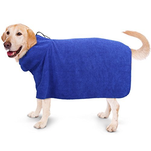 Pawaboo Dog Bathrobe, Quick Drying Dog Towel Dogs and Cats Microfiber Towel Super Obsorbent Pets Bath Towel for Mositure Absorbing, Large Size, Blue