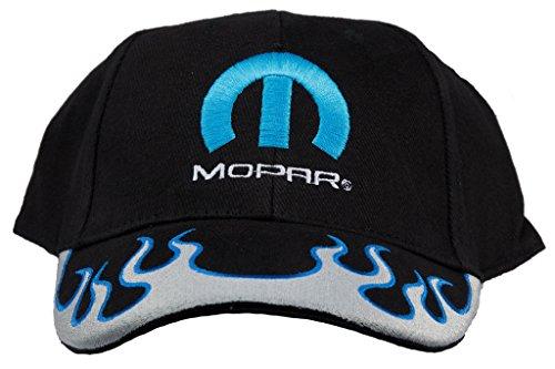 Mopar Logo with Flames Hat Embroidered Adjustable Cap, Black