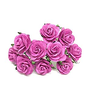 "1"" Pink Paper Flowers Paper Rose Artificial Flowers Fake Flowers Artificial Roses Paper Craft Flowers Paper Rose Flower Mulberry Paper Flowers, 20 Pieces 46"