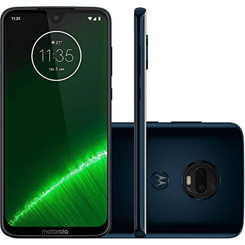 "Motorola Moto G7+ Plus (64GB, 4GB RAM) Dual SIM 6.2"" 4G LTE (GSM Only) Factory Unlocked Smartphone International Model, No Warranty XT1965-2 (Deep Indigo)"