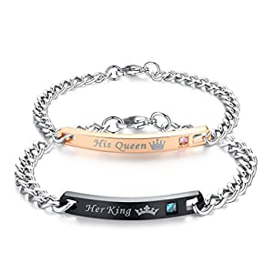 COAI Stainless Steel His Queen Her King Couple Bracelets