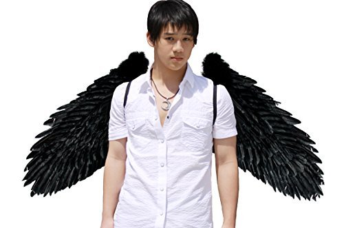 [FashionWings (TM) Black XXXL Wingspan Feather Angel Wings Pointing Up or Down Duo Use] (Angel And Demon Costumes)