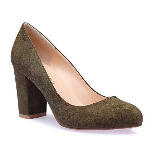 - SUNETEDANCE Women's Block Heel Pumps Round Toe Heels Sexy Elegant Slip-on Comfort Classic High Heels Office Business Shoes Suede Olive Pump 7 M US