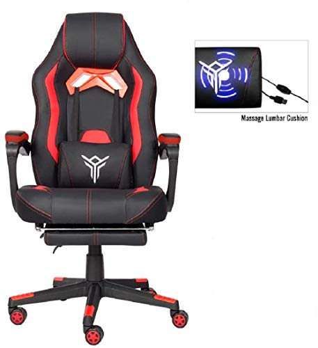 YOURLITEAMZ Massage Gaming Office Chair with Footrest Ergonomic PC Gaming Chair Foldable with Headrest Lumbar Support…