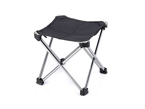 Pullic Portable Ultralight Aluminum Alloy Frame Folding Camping Stool Outdoor for Camping Fishing Hunting Picnic Travel(Black) by Pullic