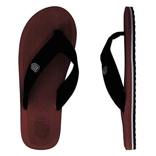 Spesoul Mens Flip Flops Unisex Lightweight Cozy Classical Indoor Outdoor Beach Sandals Brown
