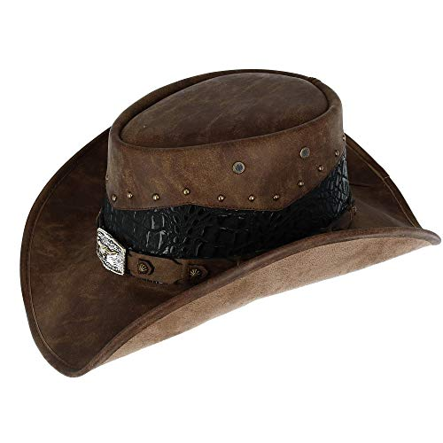 Kenny K Men's Faux Leather Western Hat with Medallion Detailed Crown, Large, -