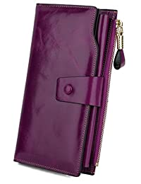 Yaluxe Women's Large Capacity Luxury Wax Genuine Leather Wallet With Zipper Pocket RFID Blocking Purple