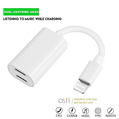 Guiling 2 in 1 iPhone 7&8 Adapter Headphone Charger?Lightning Splitter to Dual Port Audio Charge?Charge Listen to Music at The Same time (Compatible iOS 11)(White)