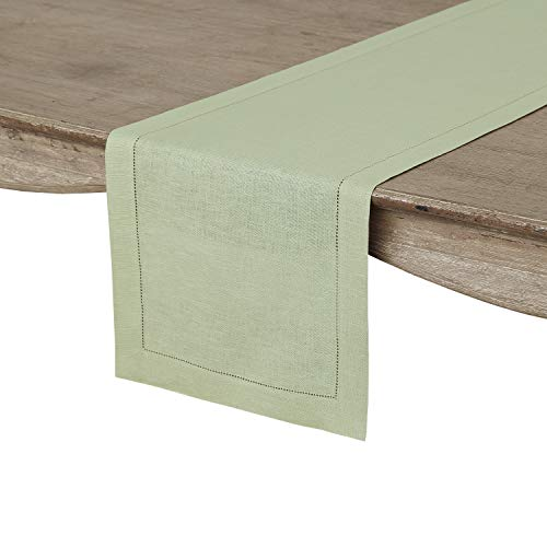 (Solino Home Hemstitch Linen Table Runner - 14 x 48 Inch, Handcrafted from European Flax, Machine Washable Classic Hemstitch - Sage Green)