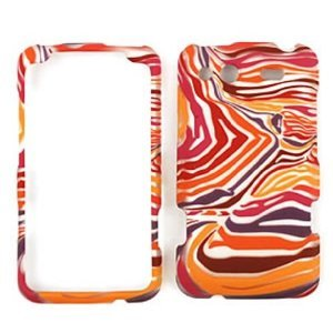 HTC Salsa Red/Orange/Purple Zebra Print Hard Case, Snap On Cover