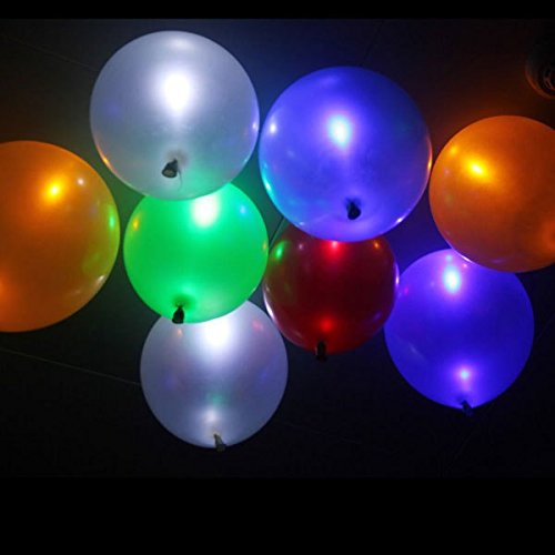 Sanheshun 50pcs LED Helium Air Mixed Colors Balloons Wedding Light Up Decoration Party (US Stock, Fast Delivery)