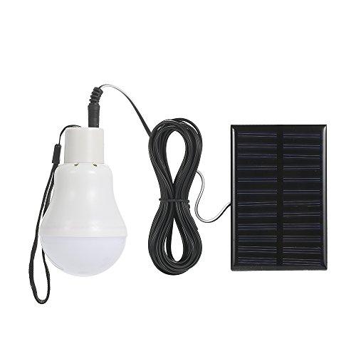 Blusea Energía Solar Powered Bombilla LED con Panel Solar Diseño Colgante IP44 Resistencia al Agua Portable 800MAh…
