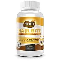 Rito del cabello: suplementos vitamínicos para el crecimiento del cabello: 10,000 Mcg de biotina, 33 ingredientes, mejorados con pimienta negra y aceite de coco, prevención intensiva de la pérdida del cabello para mujeres y hombres