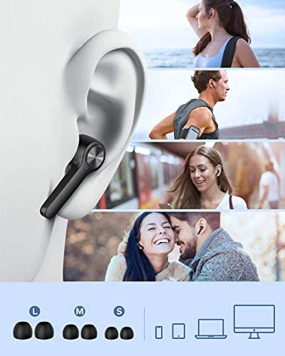 Wireless Earbuds IPX7 Waterproof, Bluetooth 5.0 Noise Cancelling Headphones True Wireless HD Stereo Sound Earbuds, in-Ear Headset 30h Playtime with Built-in Microphone Portable Charging Case (Black)