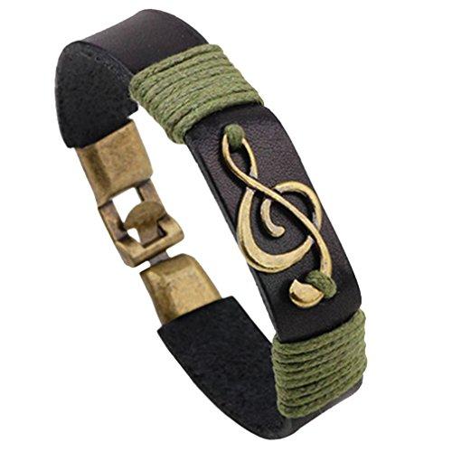 PopJ Handmade Musical Note Treble Clef Braided Rope Leather Bracelet Black