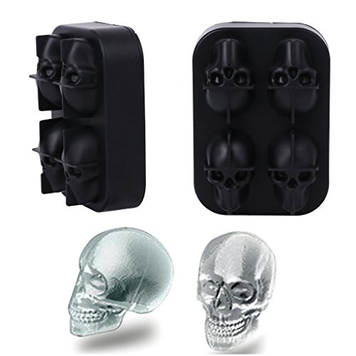 YDZN 3D Skull Ice Cube Mold Novelty Silicone Tray for Halloween Party Decorations,4.72x3.35x1.97'' -