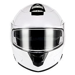 1Storm Motorcycle Modular Full Face Helmet Flip up Dual Visor/Sun Shield Glossy White