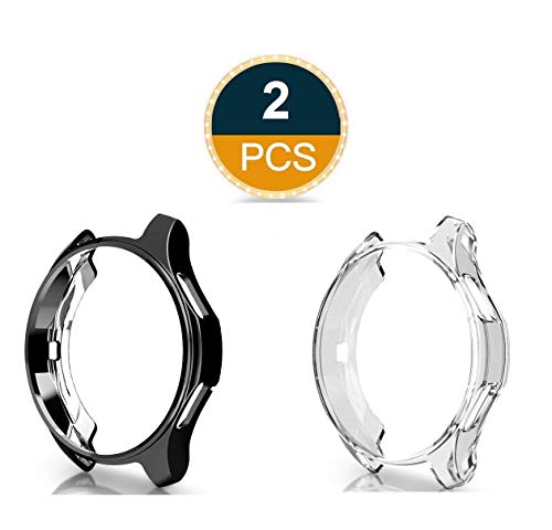 (Greaciary Compatible with Samsung Galaxy Watch 46mm Case (for SM-R805/SM-R800/Gear S3 Frontier SM-R760),2Pack Soft TPU Slim Plated Case Cover All-Around Protector Bumper for Galaxy Watch)