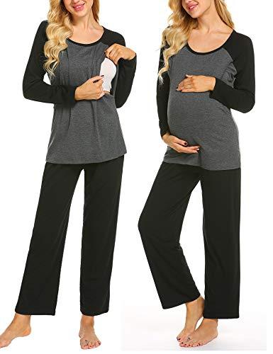 Ekouaer Women's Maternity Nursing Pajamas Sets Breastfeeding Sleepwear Raglan Long Sleeve 2 Pcs Loungewear Top and Pants Set