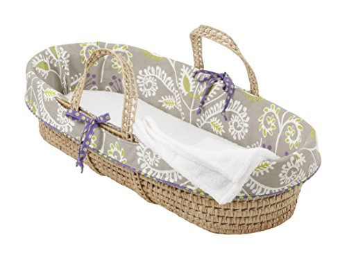 - Cotton Tale Designs 100% Cotton Contemporary Floral and Polka Dots Gray Purple Green Periwinkle Girl Wicker Moses Basket