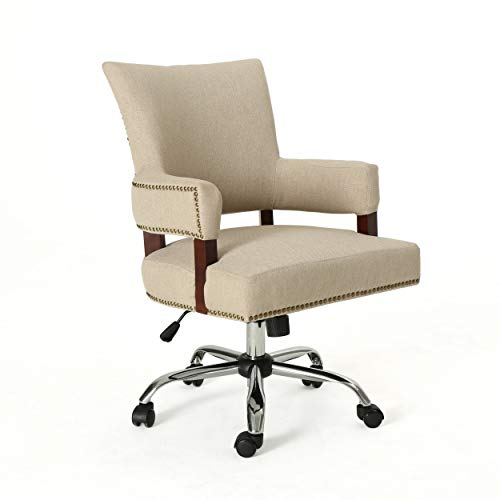 Christopher Knight Home 306421 Maye Traditional Home Office Chair, Wheat and Chrome, Arms Not Upholstered Chairs