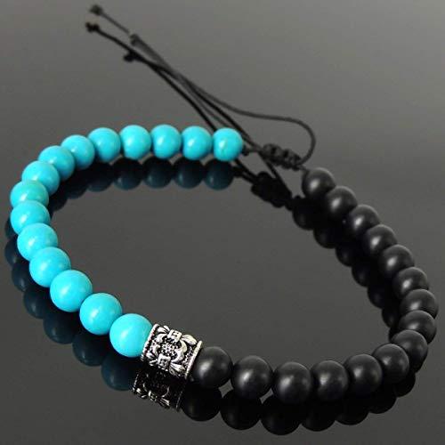 Handmade Braided Fleur de Lis Bracelet for Men's Womens Casual Wear, Protection with Matte Black Onyx, Enhanced Blue Turquoise 6mm Gemstones, Adjustable Drawstring, Genuine S925 Sterling Silver - Stretch De Fleur Bracelet Lis