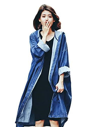 Women Oversize Denim Long Trench Coat Hooded Outerwear Jean Jacket Plus Size