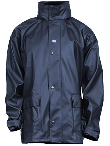 (Helly Hansen Workwear Men's Impertech Deluxe Rain Jacket, Navy - Medium)
