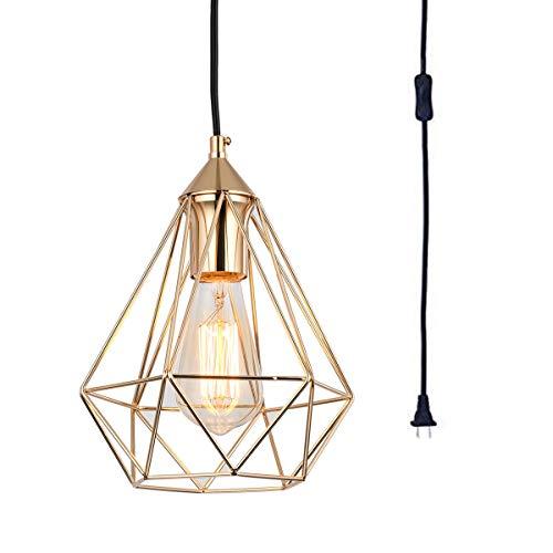 SEEBLEN Plug in Pendant Light Gold Hanging Lights P002 (Gold Swag Lamp)