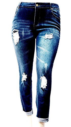 XYZ Womens Plus Size Ripped Destroyed Blue Denim Roll up Distressed Jeans Pants
