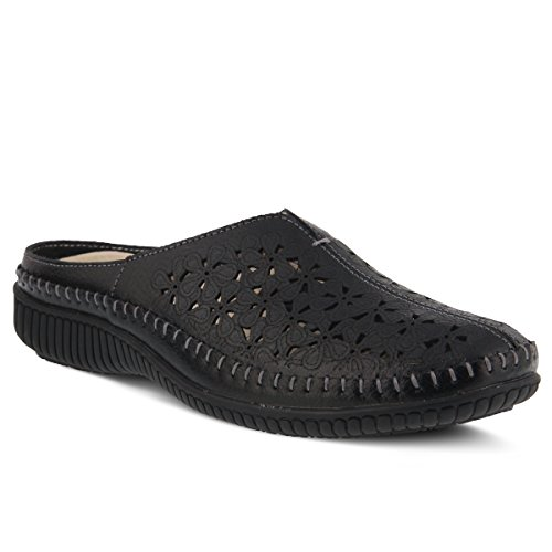 Parre Women's Step Leather Style Spring Black Clog qvw5tfTf