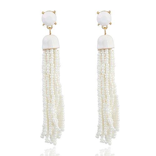 (D EXCEED Women's Bohemian Tassel Earrings Long Statement Earrings White Seed Bead Fringe Dangle Earrings for Her)