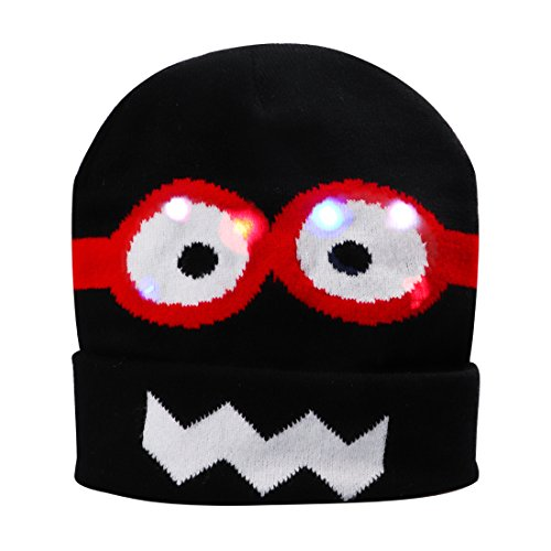 Light up Christmas Hat, DAXIN DX LED Knitted Flashing Beanie Hats/Caps for Men Women Kids Cute Rave Party Hat Costume Christmas Birthday Gifts