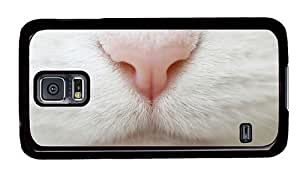 Hipster Samsung Galaxy S5 Case thinnest cases white cat nose PC Black for Samsung S5