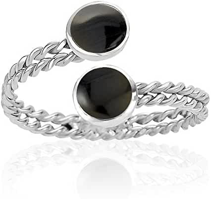 925 Sterling Silver Wrap Around Twin Blue Stone or Black Resin Adjustable Ring, 6-9