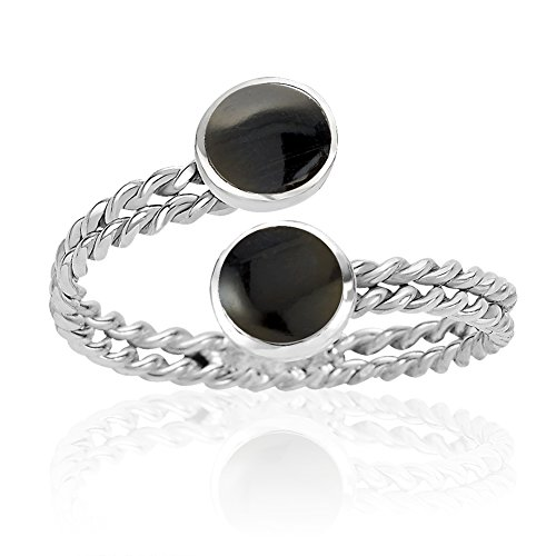 Chuvora 925 Sterling Silver Twin Black Round Resin Adjustable Ring, 6-9