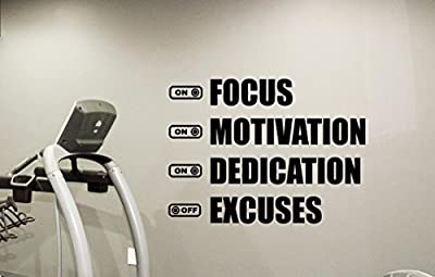 Fitness Gym Wall Decal Focus Motivation Dedication Excuses Motivational Fitness Vinyl Sticker Inspirational Wall Decor Fitness Motivation Quote Sport Wall Art Training Workout Wall Mural 103fit