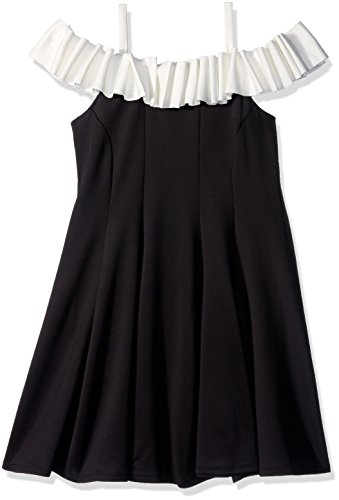 Biscotti Big Girl's Runway Status Off Shoulder Dress Dress, black/ivory, 12