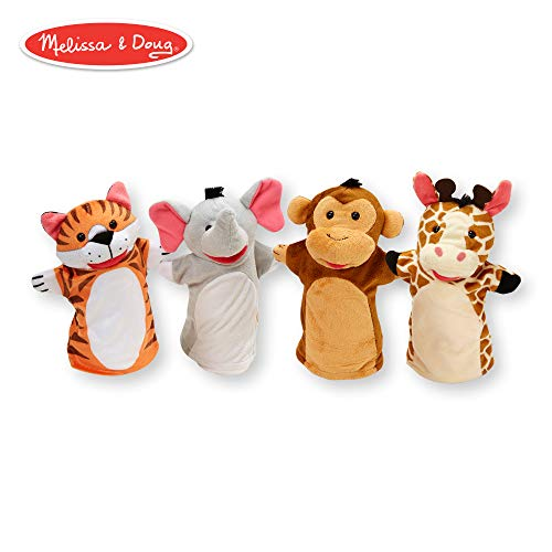 (Melissa & Doug Zoo Friends Hand Puppets, Puppet Sets, Elephant, Giraffe, Tiger, and Monkey, Soft Plush Material, Set of 4, 14