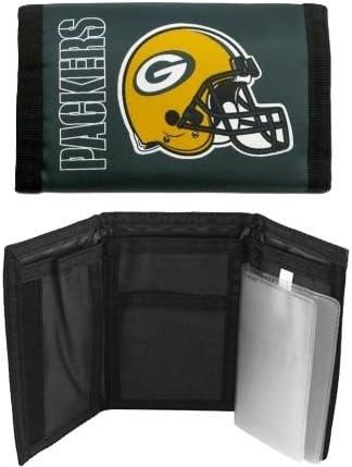 LA Auto Gear Green Bay Packers NFL Team Logo Tri Fold Nylon Pocket Wallet