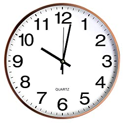 Wall Clock 12 Inch Non-Ticking Silent Quartz Decorative Batter Operated Clocks Easy to Read Home Kitchen Office School Clocks w Metal Frame Glass Cover Arabic Number (Rose Golden)