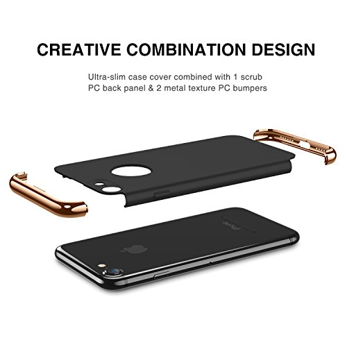 iPhone 7 Case RANVOO 3-in-1 Stylish Slim Hard Case with 3 Detachable Parts for Apple iPhone 7, CHROME GOLD and MATTE BLACK, [CLIP-ON]