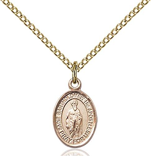 (14K Gold Filled Saint Bartholomew the Apostle Petite Charm Medal, 1/2 Inch)