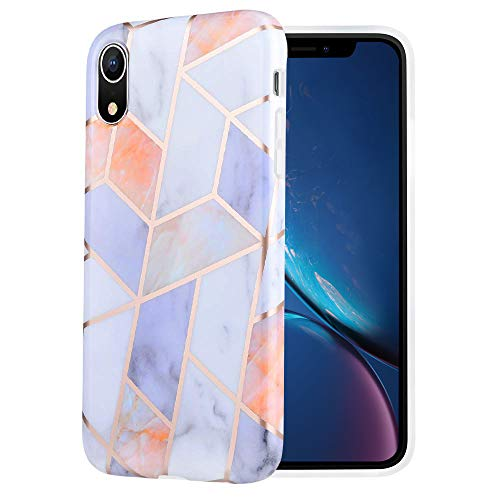 Caka Marble Case Compatible for iPhone XR, Girly Slim Anti-Scratch Shock-Proof Luxury Fashion Cute Silicone Soft Rubber TPU Protective Case for iPhone XR (6.1) - (Geometric Lattice)