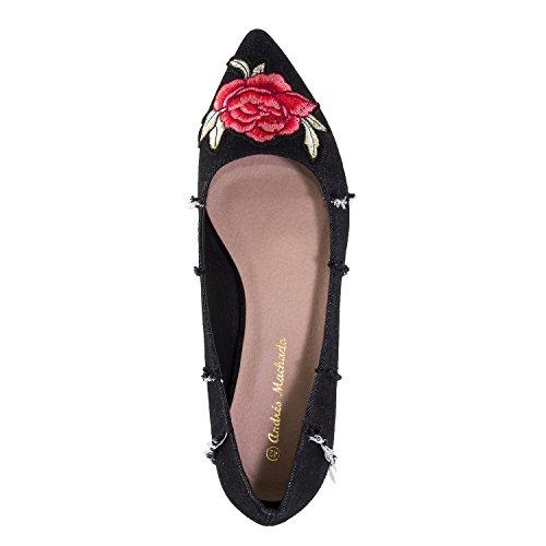 Andres Machado AM5248.Bailarina Punta .Mujer.Tallas Pequeñas/Grandes. 32/35-42/45. Flores Negro