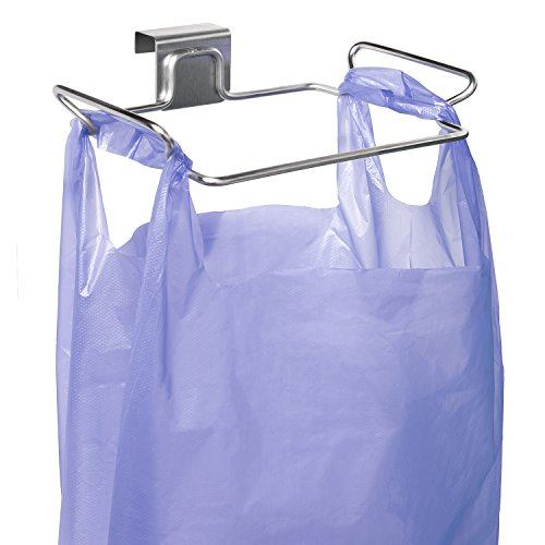(YouCopia Over The Over The Door Plastic Bag Trash Bin for Cabinets, Stainless Steel )