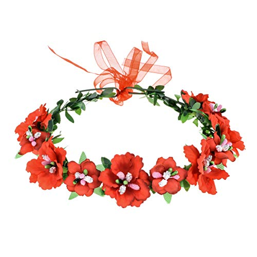 Love Sweety Girls Boho Rose Floral Crown Wreath Wedding Flower Headband Headpiece (A-Red)