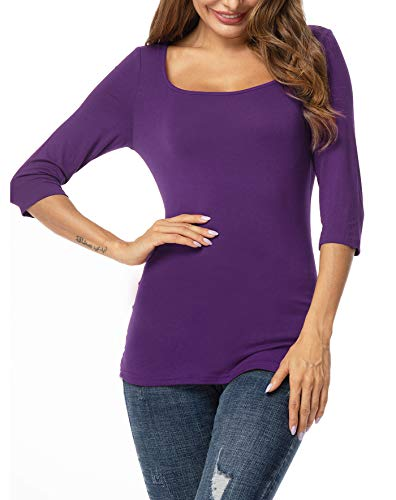 ZEGOLO Women's Casual 3/4 Sleeve Crewneck Stretch Slim Fit Basic Top T-Shirt Purple S